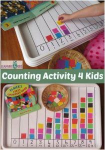 contando até 10 com bandeja e quadradinhos de papel