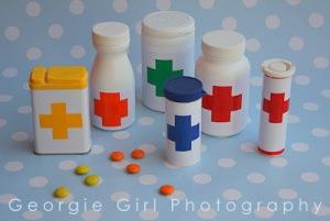faz de conta médico- embalagens para remédios